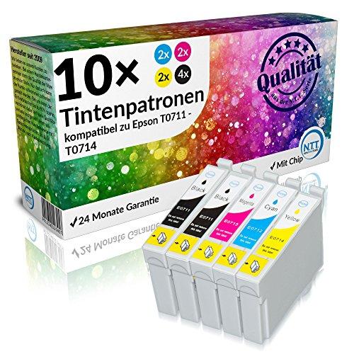 N.T.T.® 10 Stück XL Druckerpatronen, Sparset für Epson T0711 T0712 T0713 T0714 (2 Sets + 2 x schwarz gratis)
