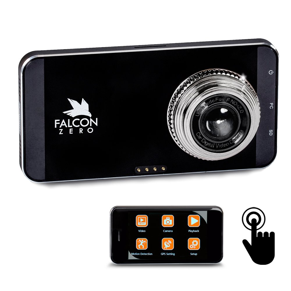 Falcon Zero Touch PRO HD Dash Cam [TOUCH SCREEN] 1080p 24/7 Surveillance, Multi Vehicle Use, 32 GB SD Card Included by Falcon Zero B01LYGO3QH