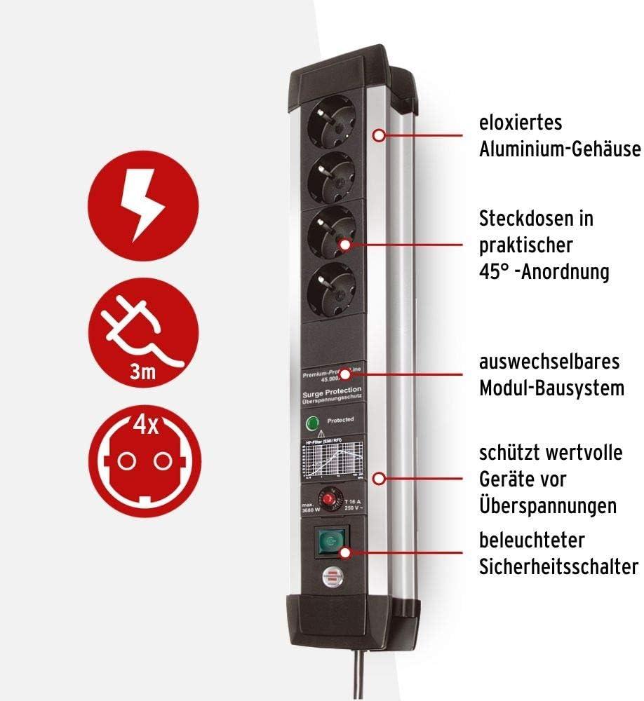 Brennenstuhl Premium Protect Line Steckdosenleiste 4 Fach Mit Überspannungsschutz Stabiles Aluminium Gehäuse 3m Kabel Und Schalter Made In Germany Silber Schwarz Baumarkt