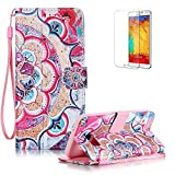 Galaxy S7 Case with Free Screen Protector,Funyye Stylish Colourful PU Leather Wallet Card Holder Full Body Flip Case Cover Shell for Galaxy S7 - Half Flowers