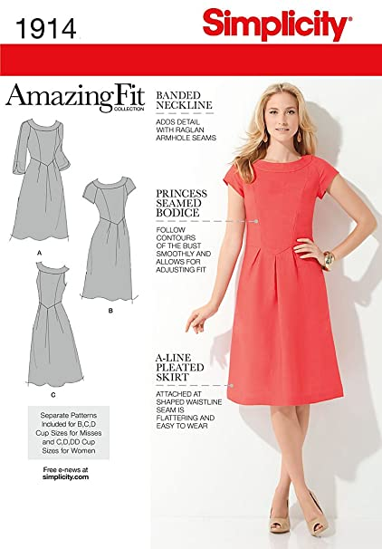 02a62c63307f Image Unavailable. Image not available for. Color  Simplicity Amazing Fit  Pattern 1914 Misses Dress with Individual Pieces Sizes ...