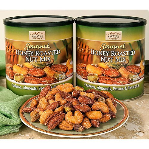 Savanna Orchards Gourmet Honey Roasted (2 PACK) Nut Mix - Cashews, Almonds, Pecans and Pistachios (30oz Each Can