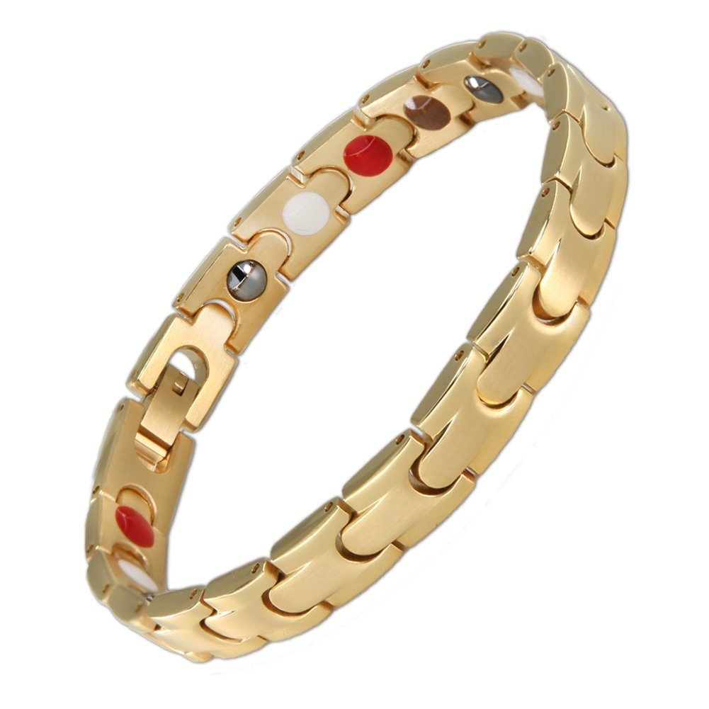 Magnetic Therapy Stainless Steel Health Bracelet 5 Elements in 1 Arthritis Pain Relief for Women, with Link Removal Tool (Gold)