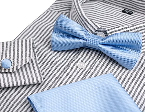 OUMUS Adjustable Classical Men's Pre-Tied Bow Tie Set, Light Blue from OUMUS