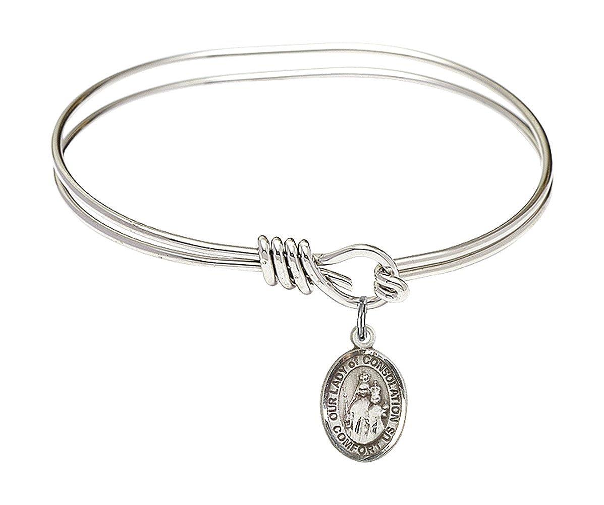 Our Lady Of Consolation Charm On A Child Sized 5 3//4 Inch Oval Eye Hook Bangle Bracelet