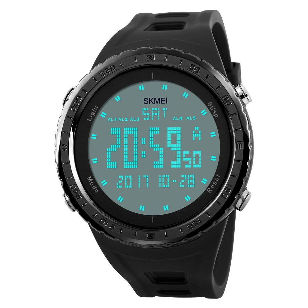 Amazon.com: TONSHEN Digital Sport Watch for Men Waterproof 50M 164FT Water Resistant 12H/24H Time Backlight Stopwatch Calendar Date 5 Alarm Army Military ...