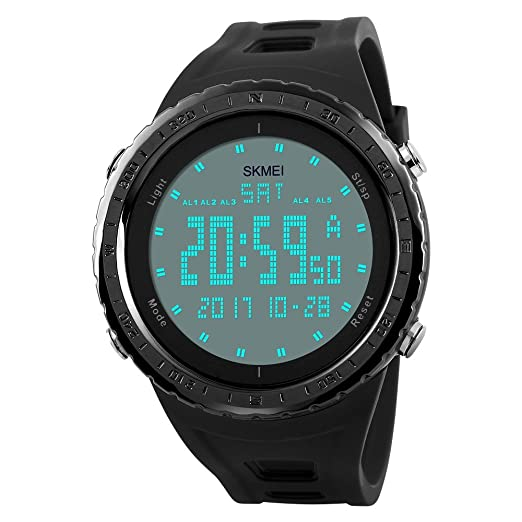 00d6625186f5 TONSHEN Digitales LED Impermeable Deportivos Relojes de Hombre Plástico  Bisel Y Correa Goma 50M Resistente Agua