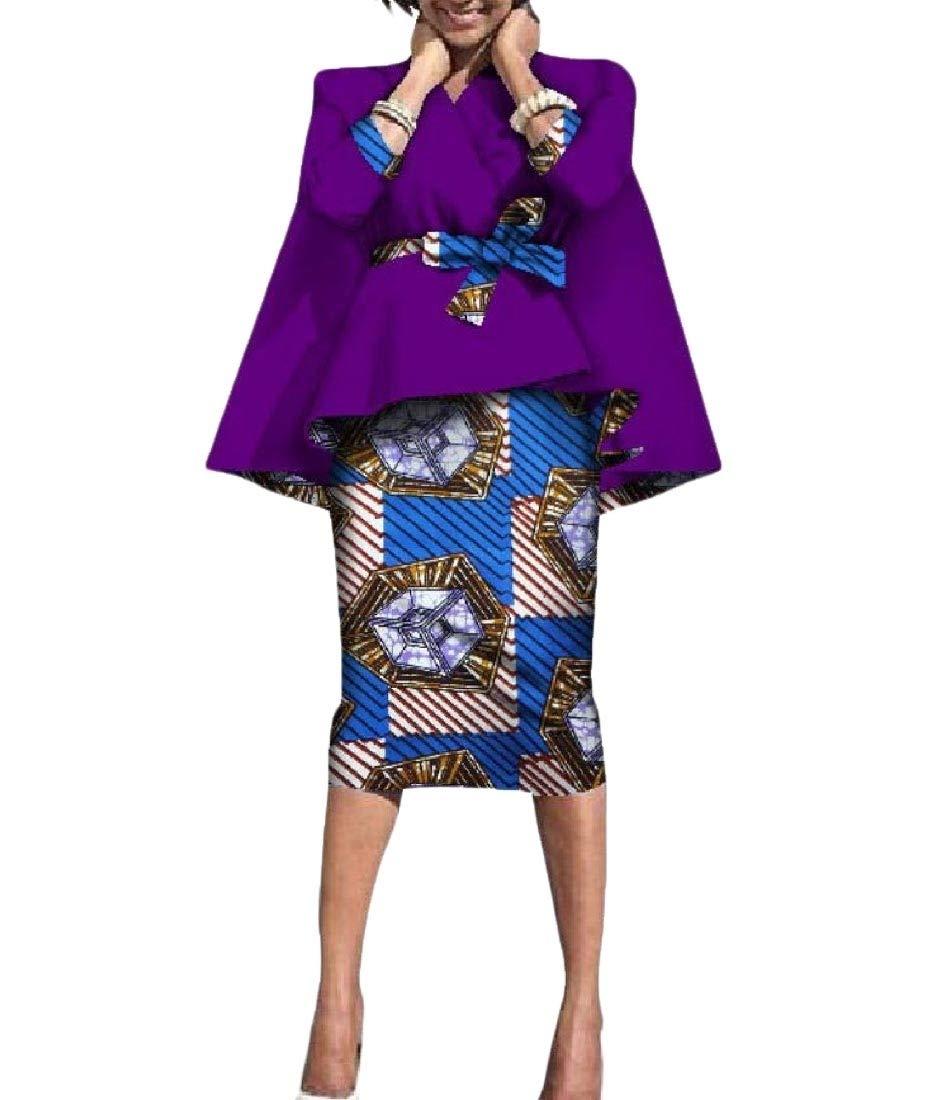 Zimaes Womens Dashiki Africa Two Piece Accept-Waist Batik Sexy Bodycon Skirt 6 M