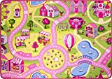 The Rug House Funfair Pink Colourful Kids Town City Roads Childrens Floor Play Area Rug Mat 3'1'' x 4'4''