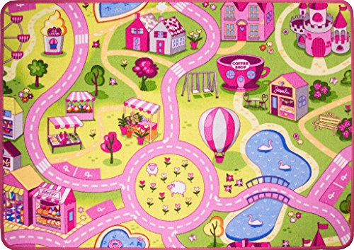 Funfair Pink Colourful Kids Town City Roads Childrens Floor Play Area Rug Mat 3'1' x 4'4'