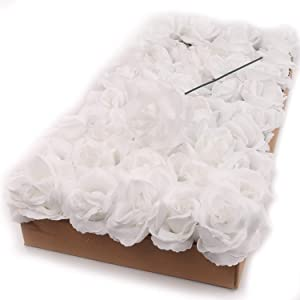 Larksilk 50 Count White Roses, Fabric Rose Flowers, Flexible Detachable Stems, Baby Shower, Bridesmaid, Bouquets, & Bridal Shower Decor