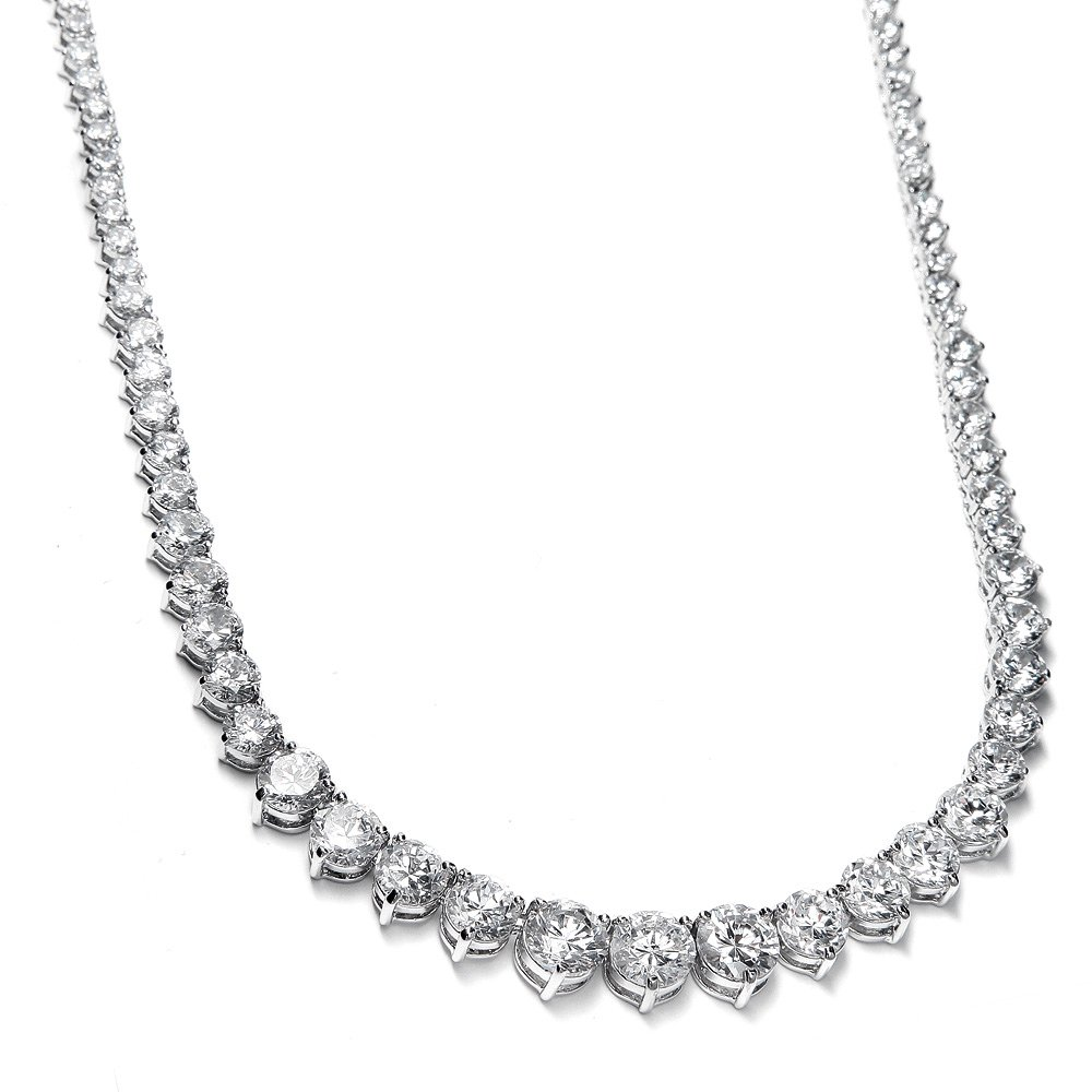 Mariell Graduated Cubic Zirconia Tennis Necklace, Platinum Plated Graduated CZ Bridal Statement Jewelry