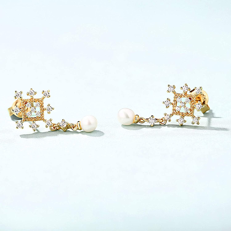 ANAZOZ Snowflakes Silver Earrings Nickel Free Cubic Zirconia White Created Pearl Gold Stud Earrings