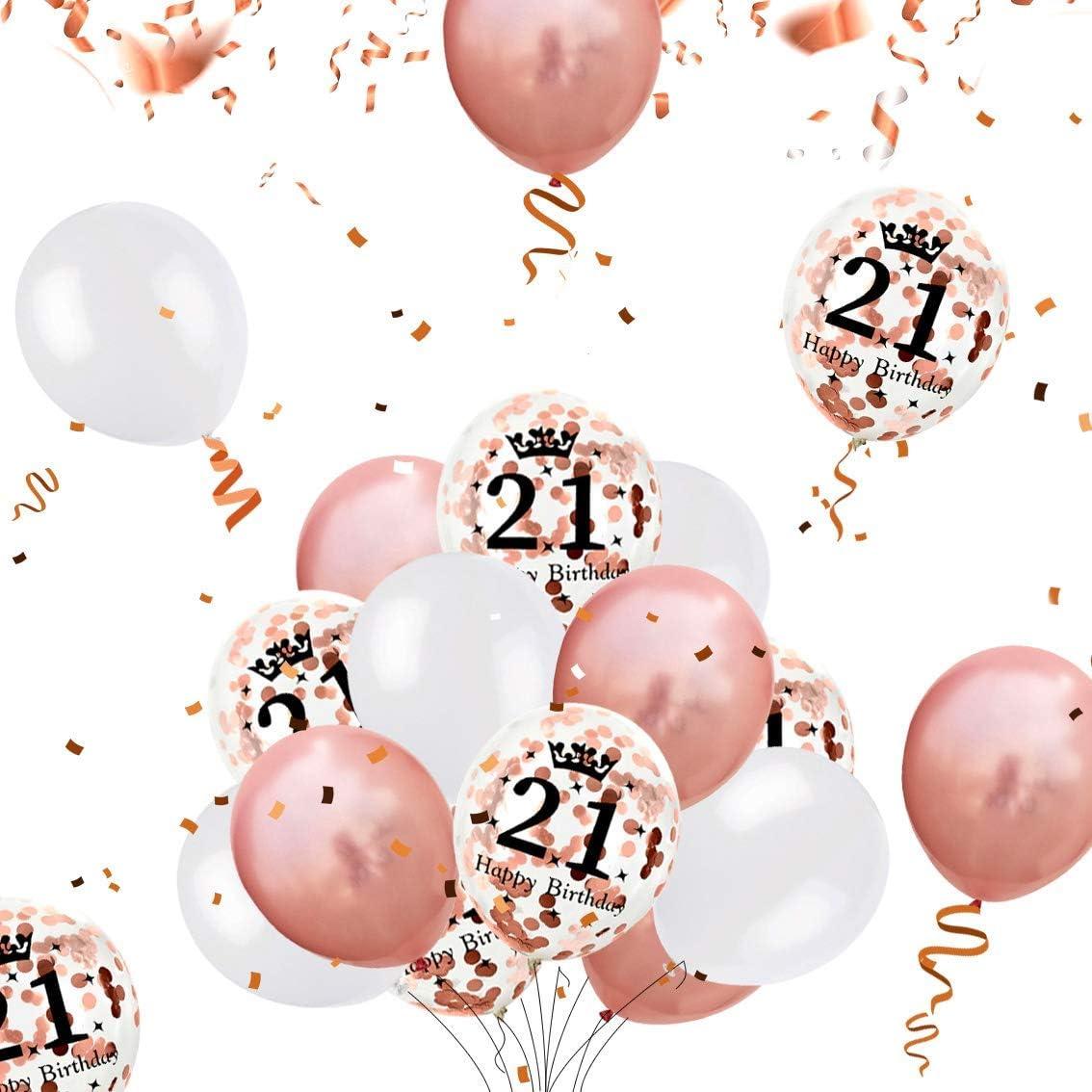 18 50 40 Geburtstag Party Luftballon XXL Zahlen Happy Birthday Folienballon Girlande 24 Konfetti Ballons 2 Glitzer Vorhang 10g Konfetti 30 iZoeL Rosegold 18 21