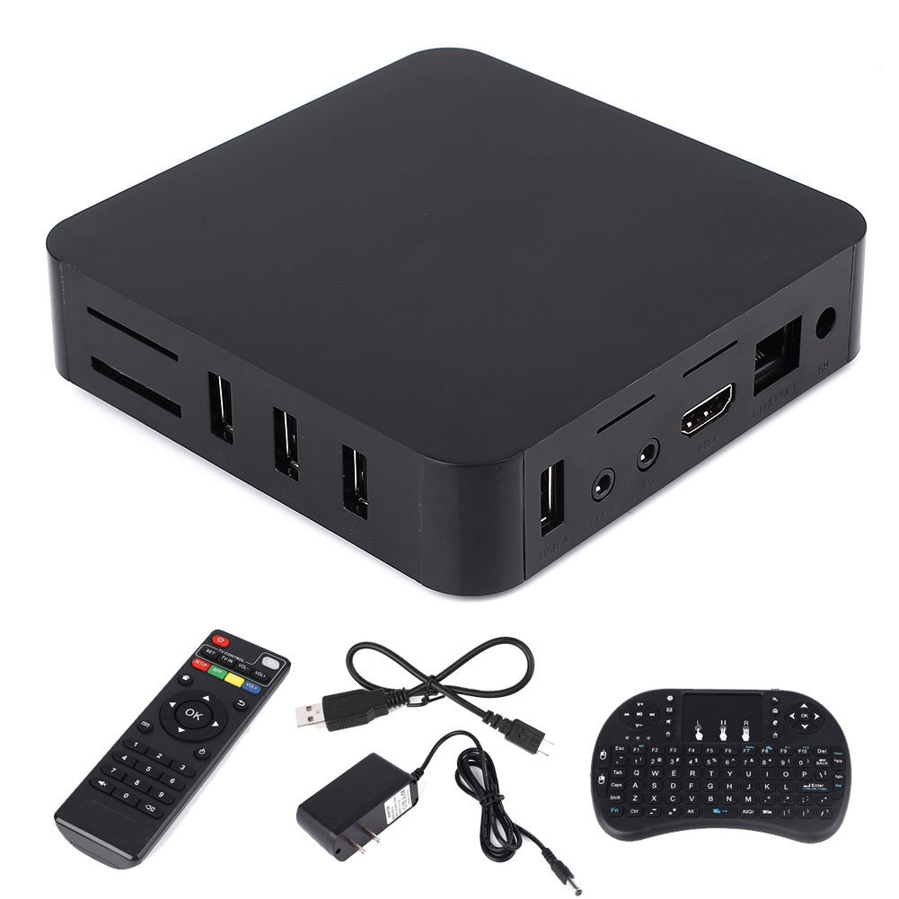 Hanbaili US Plug Android 6.0 TV BOX, 4K Amlogic S905 Android 6.0 Quad Core 1G+ 8G HD Smart TV Box with Wireless Keyboard
