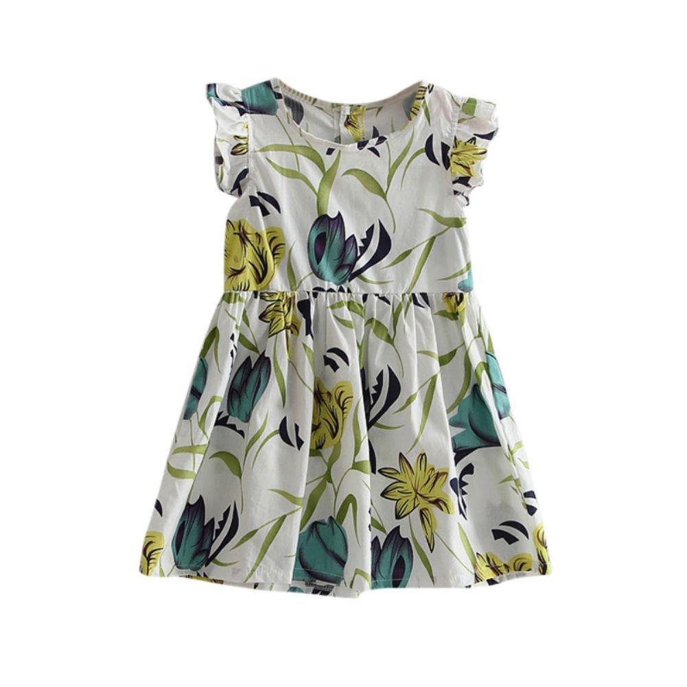 Zhengpin Summer Baby Girl's Ruffles Sleeve Floral Printed Dress Cotton Princess Skirt