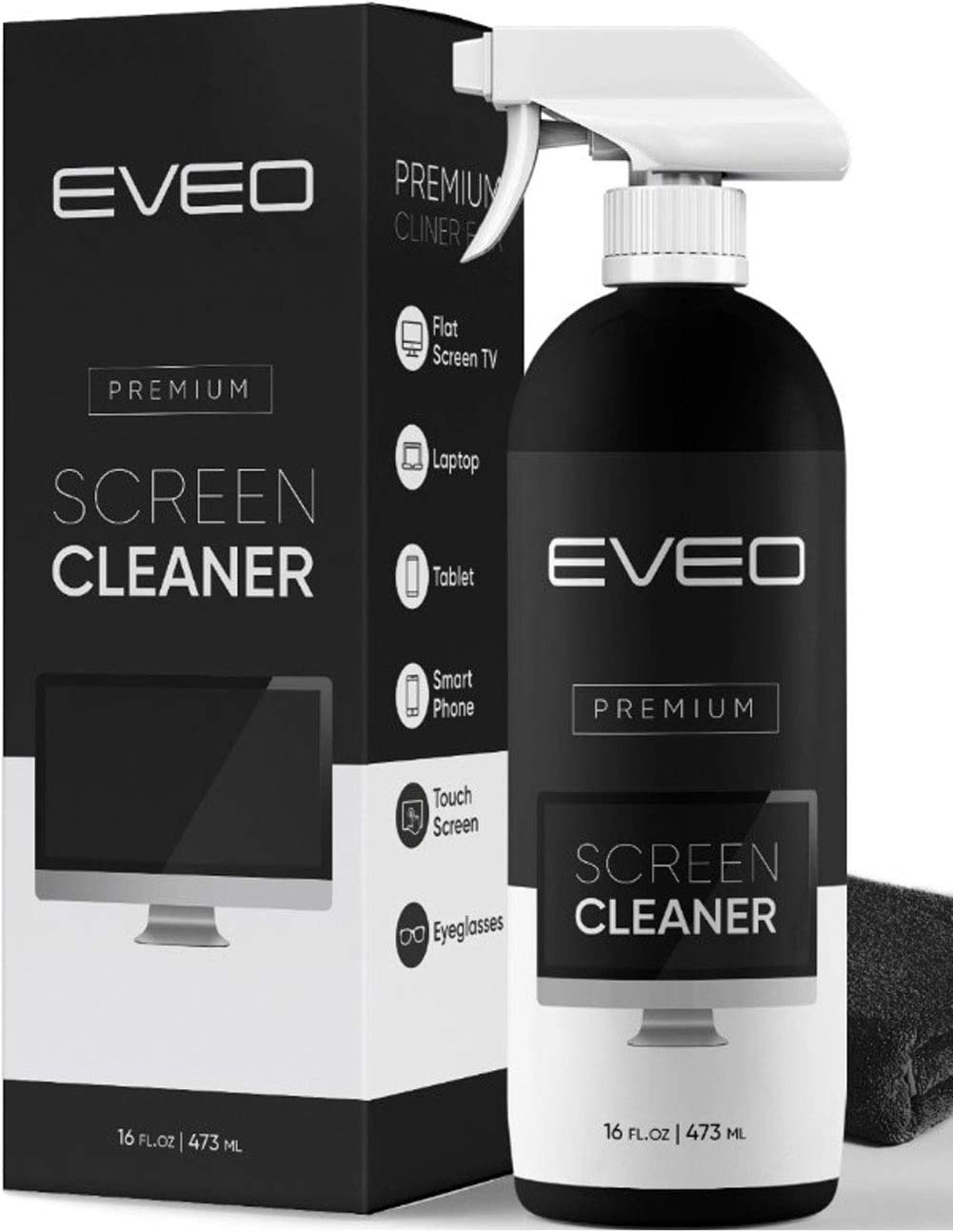 Screen Cleaner Spray - TV Screen Cleaner, Computer Screen Cleaner Laptop, Phone, Ipad - Computer Cleaning kit Electronic Cleaner - Microfiber Cloth Included, Large 16 Ounce Bottle: Home Audio & Theater