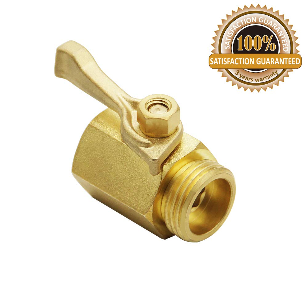 "Twinkle Star Super Heavy Duty 3/4"" Brass Shut Off Valve Garden Hose Connector, TWIS3005"