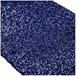 Long Navy Blue Sequin Table Runner