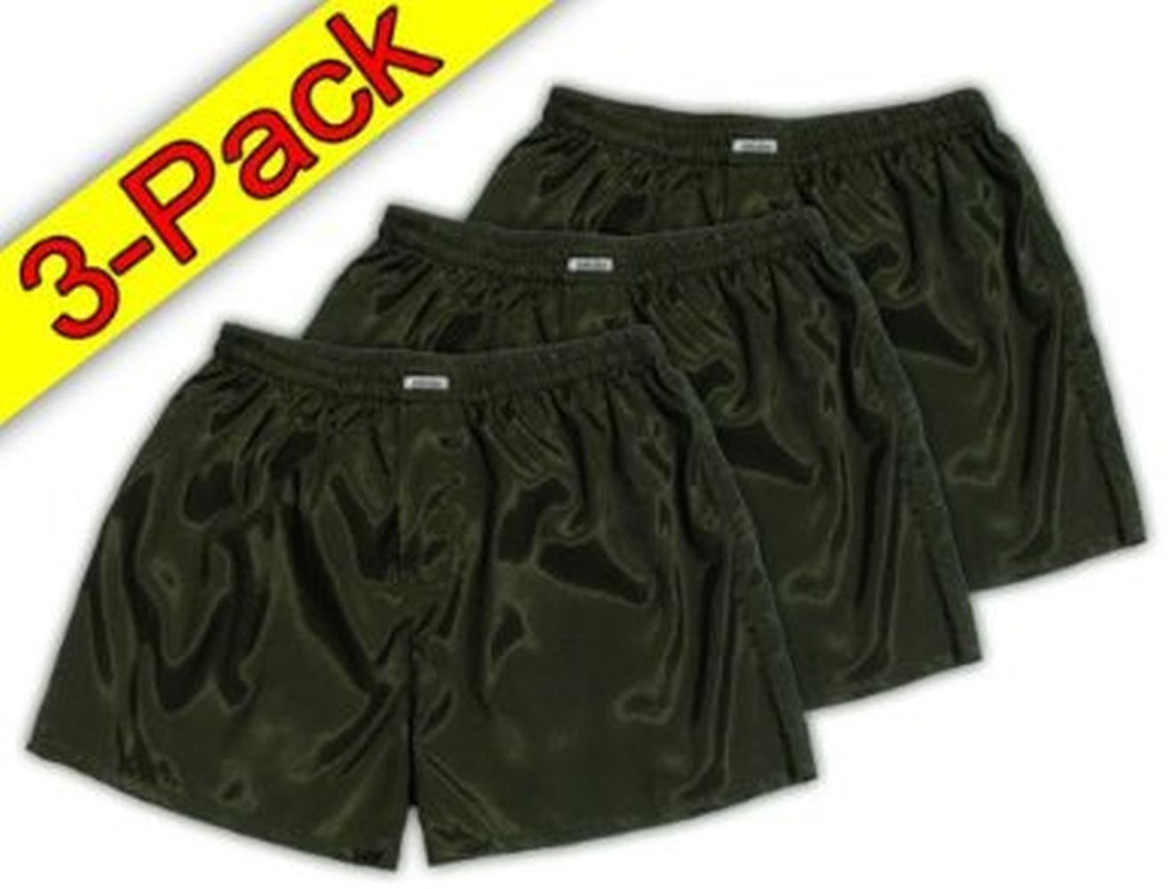 (XXL) 3-Pack Darkgreen Boxer Shorts Underwear Men Sleepwear Satin