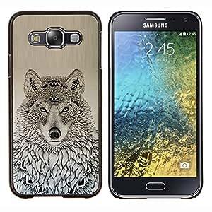 LECELL--Funda protectora / Cubierta / Piel For Samsung Galaxy E5 E500 -- lobo patrón estadounidense de dibujo negro nativo --