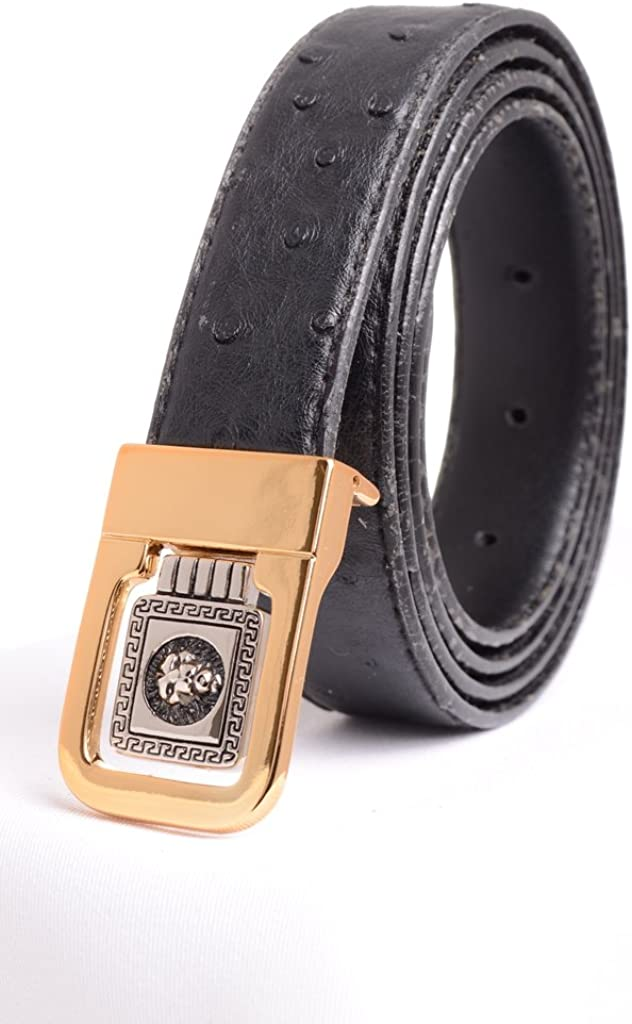 A.P.L Mens Leather Dress Belt Ostrich Print