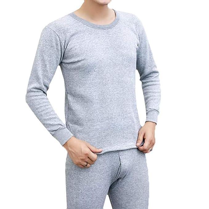 Conjunto De Ropa Interior Térmica para Hombre,Hombres Invierno Circular Collar Térmica Ropa Interior TéRmica