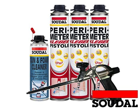 Soudal Vajilla (3 x Perimeter adhesivo 750 ml + 1 x SOUDAL – Pistola de