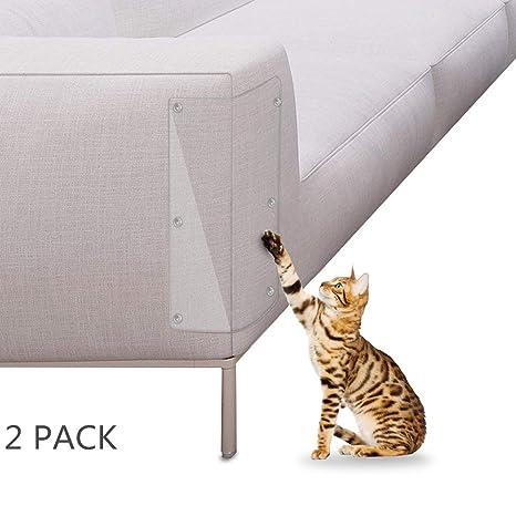 Petyoung Protector de Arañazos para Gatos tapizado para Muebles, 2 Protectores de Vinilo Transparentes,