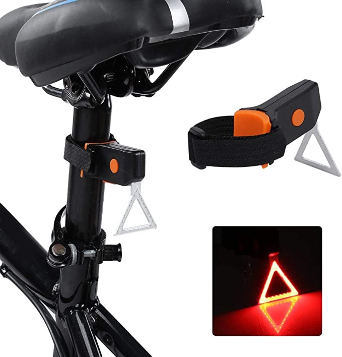 MAGT Bike Tail Light Waterproof USB Charging LED Bicycle Rear Light 4 Shapes Bicycle Rear Warning Light Triangle
