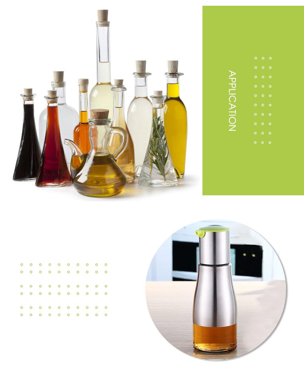 shuzhen-kitchen,De acero inoxidable de la botella de vidrio condimento para la salsa de soja aceite vinagre.(color:Verde): Amazon.es: Hogar