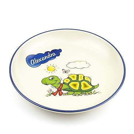 Piatti In Ceramica Per Bambini.Piatto Con Nomi Profondo D 21 Cm Tartaruga In Ceramica