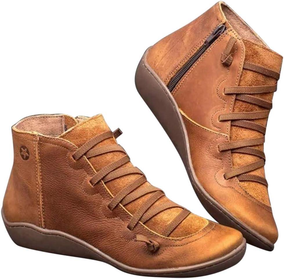 Acreny Botines de Cuero Otoño Vintage con Cordones Zapatos de Mujer Botas cómodas de tacón Plano Cremallera Bota Corta Botas de Nieve Mujer Impermeable