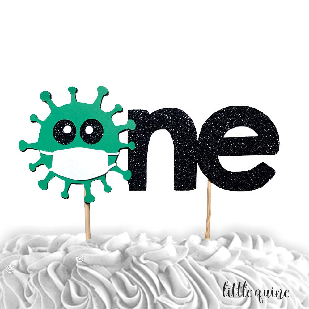 Amazon Com 1 Pc One Covid 19 Virus Quarantine Double Sided Glitter Cake Topper For 1st First Birthday Boy Girl Cake Smash Party Decor Handmade