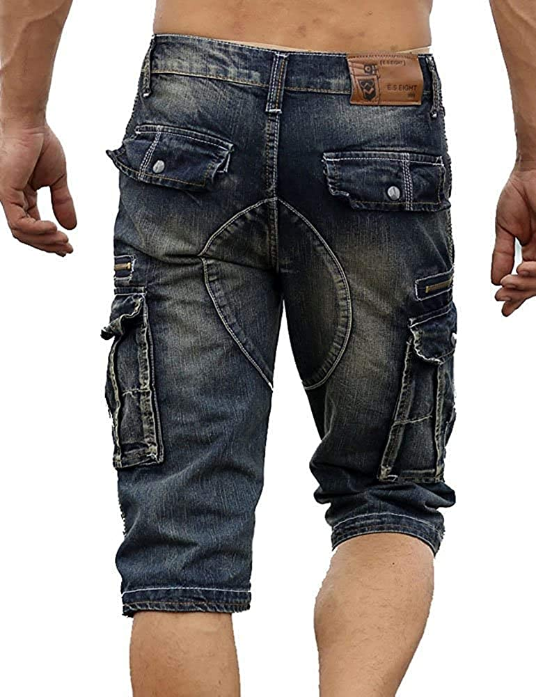 Domple Mens Casual Multi-Pockets Loose Fit Washed Utility Denim Shorts Jeans