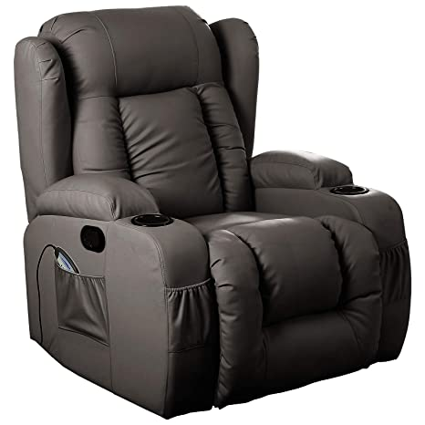 Wondrous D Pro T 10 In 1 Winged Leather Recliner Chair Rocking Massage Swivel Heated Gaming Armchair Brown Gamerscity Chair Design For Home Gamerscityorg