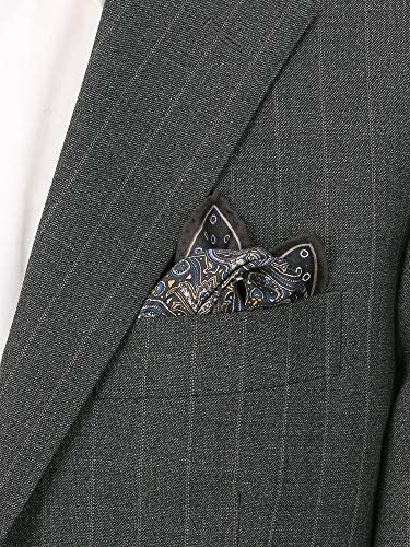 (ザ・スーツカンパニー) ペイズリー×小紋プリント シルクポケットチーフ ブラック系