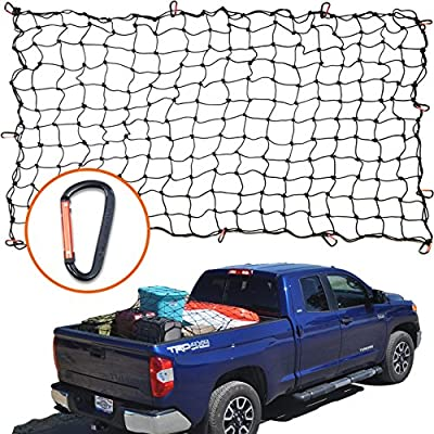 "4'x6' Super Duty Bungee Cargo Net for Truck Bed Stretches to 8'x12' | 12 Tangle-Free D Clip Carabiners | Small 4""x4"" Mesh Holds Small and Large Loads Tighter"