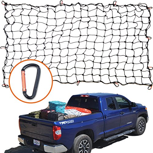 "F150 Ford Racks Hauler (4'x6' Super Duty Bungee Cargo Net for Truck Bed Stretches to 8'x12' | 12 Tangle-free D Clip Carabiners | Small 4""x4"" Mesh Holds Small and Large Loads Tighter)"