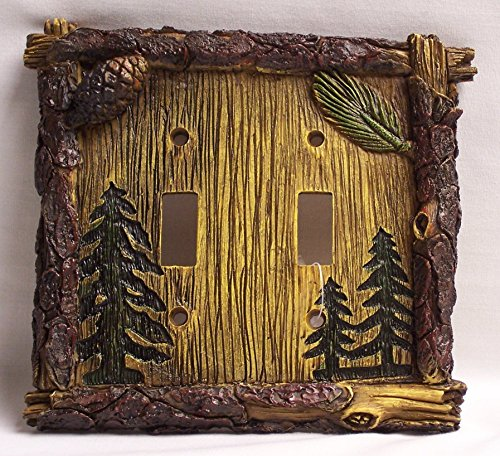 Pine Tree Double Light Switch Plate Cover Home Cabin Decor