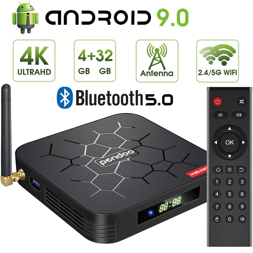 Android 9.0 TV Box, Pendoo X6 PRO Android TV Box 4GB RAM 32GB ROM, Dual-WiFi 2.4GHz/5GHz BT5.0 Quad Core 64 Bits 3D/4K Full HD/H.265/USB3.0 Android Box by pendoo