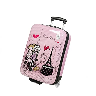 ABS Suitcase Child/Girl Pink Love Paris 2031 50 cm: Amazon.co.uk ...