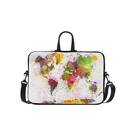 ae5c23d63232 Amazon.com: InterestPrint World Map Abstract Art Laptop Sleeve Case ...