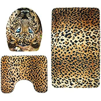 Amazon Com Baoblaze 3pcs Animal Print Non Slip Rug Bath