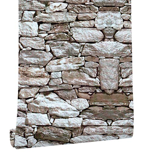 HaokHome 1900 Faux Rock Stone Peel and Stick Wallpaper Lt.Grey/Brown Self-Adhesive Contact Paper (Brown Faux Wallpaper Texture)