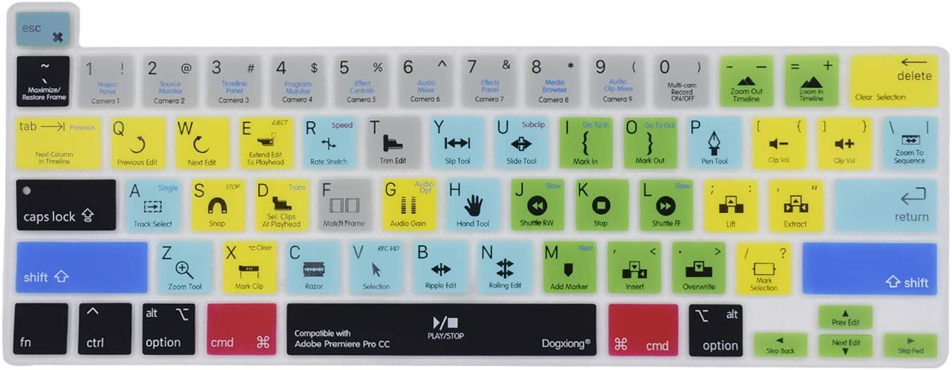 Dogxiong Adobe Premiere Pro CC Shortcuts Hot Keys PS Silicone Keyboard Cover Keyboard Skin Protection for MacBook Pro 16 (A2141), MacBook pro 13 [2020 Year Later] (A2251/A2289)