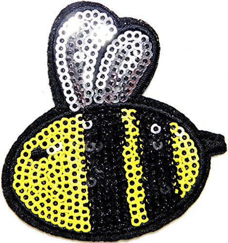 Bee Honey Wild Animal Sparkly Sequin Shine Shiny Patch Sew Iron on Embroidered Applique Craft Handmade Baby Kid Girl Women Sexy Lady Hip Hop Cloths DIY -