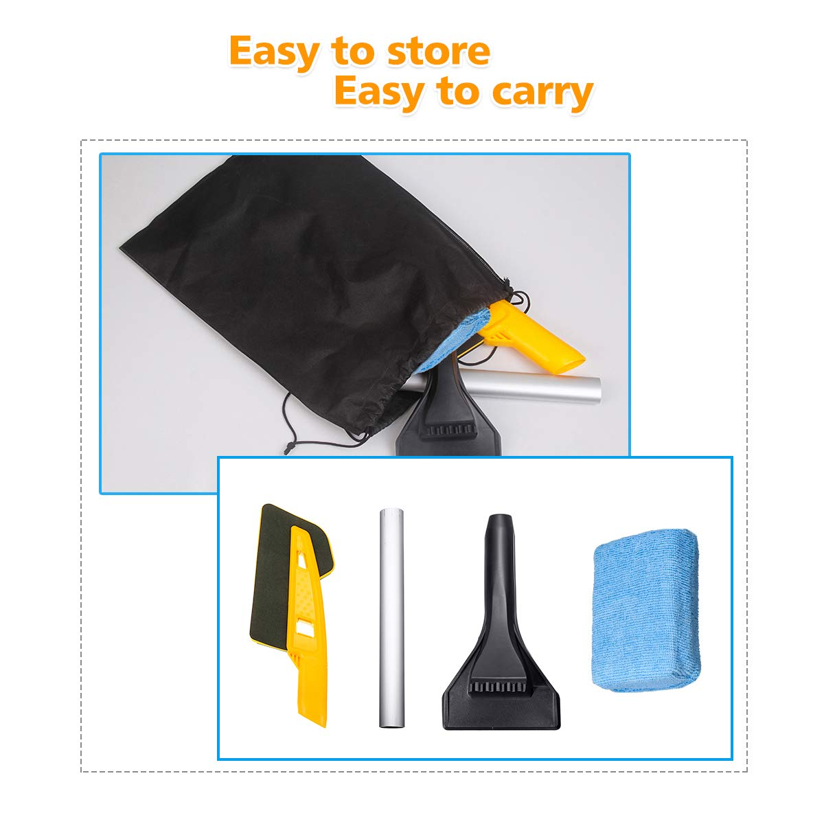MIGICSHOW Snow Brush Detachable Windscreen Snow Shovel windshield with A 4CM Microfibre Demist Pad Sponge For Car Van Scrape Ice From Windscreens And Side Windows With Ease 64CM Ice Scraper for Cars