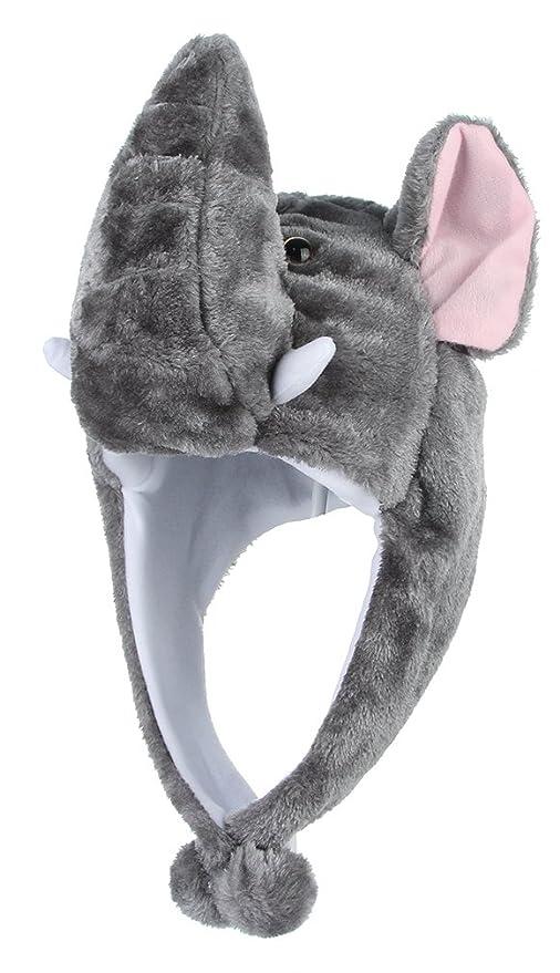 6a43bb53d467b GEMVIE Sombrero Gorro Disfraz Cosplay De Animal Adulto Niños Felpa De Oreja  (Elefante)