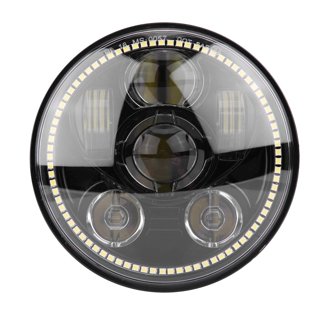 KIMISS 5.75 Inch Daymaker LED Headlight with White Halo Ring Angel Eyes Turn Halo Sign for Harley Davidson Motorcycle